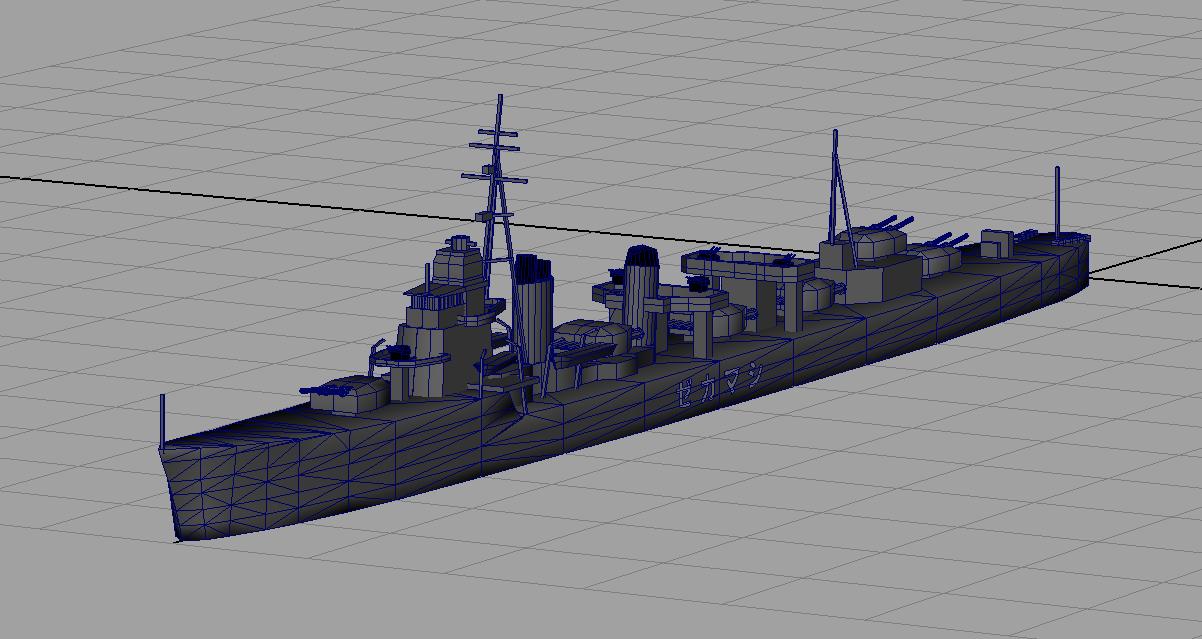駆逐艦「島風」のローポリモデル作成